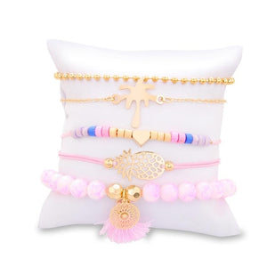 Bohemia Pineapple Heart Bracelet Set