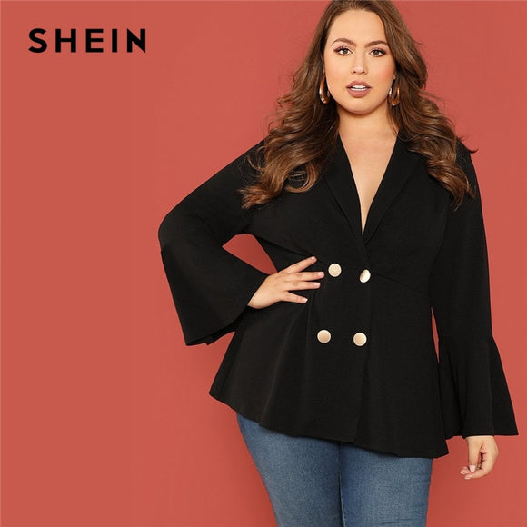 SHEIN Black Double Breasted Notched Collar Ruffle Sleeve Plus Size Office Lady Long Blazer Women Elegant Coats