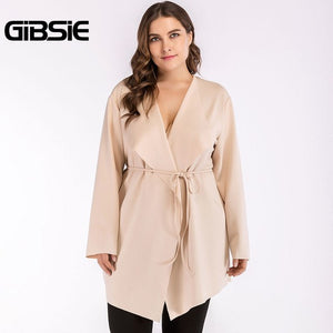 GIBSIE Plus Size Women Clothing Apricot Elegant V-neck Tie Waist Trench Coat 4XL Autumn Women Streetwear Casual Long Outerwear