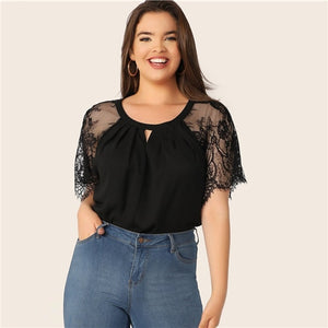 Neck Floral Lace Raglan Sleeve Top