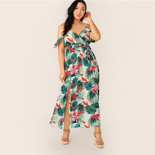 Drop Sleeve Split Thigh Dress