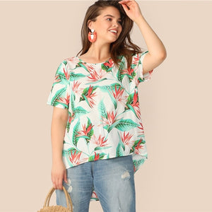 SHEIN Plus Size Multicolor Tropical Print High-Low Hem Top Blouse 2019 Women Summer Boho Asymmetrical Vacation Blouses Shirt