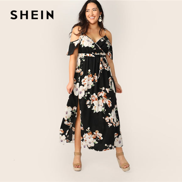 SHEIN Plus Size Cold Shoulder Botanical Wrap Maxi Dress 2019 Women Summer Boho Fit and Flare High Waist Spaghetti Strap Dresses
