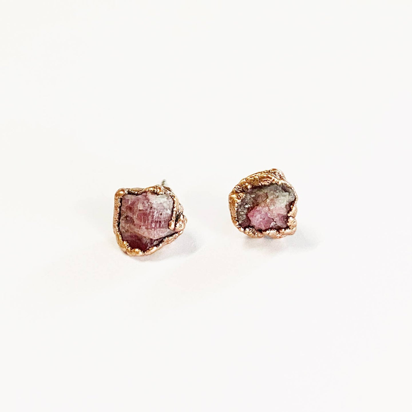 Raw Pink Tourmaline Post Earrings