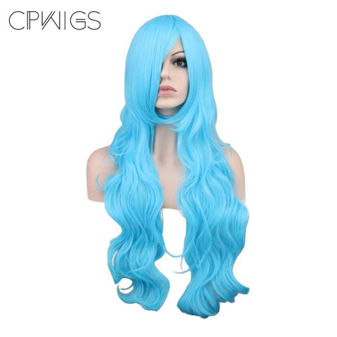 "Fashion Wig - Wavy 32"" - Sky Blue Wigs"