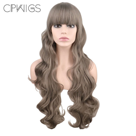 "Fashion Wig - Wavy 32"" - Black, Gray Wigs"