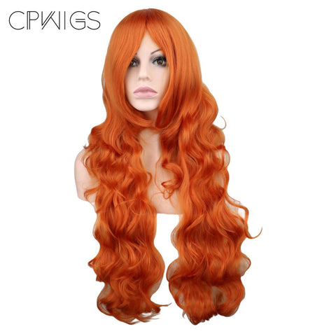 "Fashion Wig - Wavy 32"" - Orange Wigs"