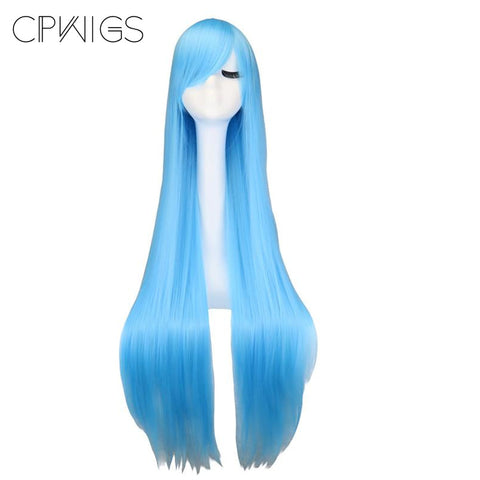 "Fashion Wig - Straight 38"" - Sky Blue Wigs"