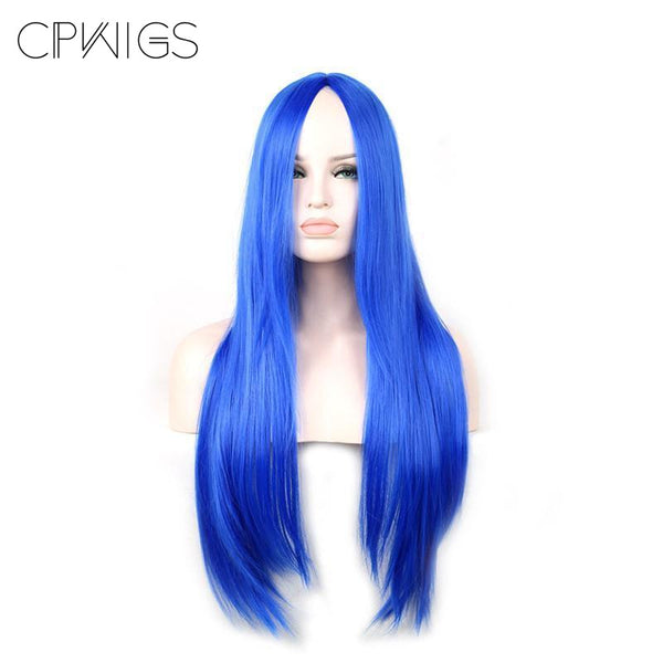 Fashion Wig - Straight 30 7 Colors Blue / 30Inches