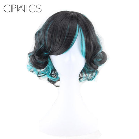 Curly Bob - Blue, Black Wigs