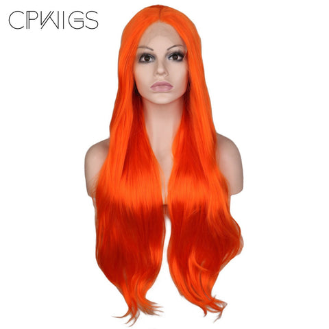 "Lace Fronts - Curly 28"" - Orange Wigs"