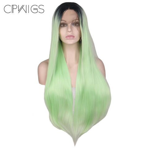 "Lace Fronts - Straight 28"" - Green, Black Root Wigs"
