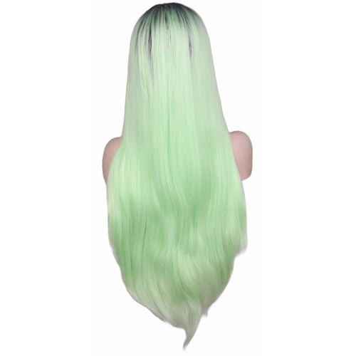 Lace Fronts - Straight 28 Green Black Root Wigs