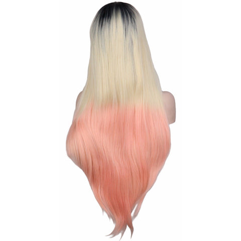 Lace Fronts - Straight 28 Blonde Pink Black Root Wigs