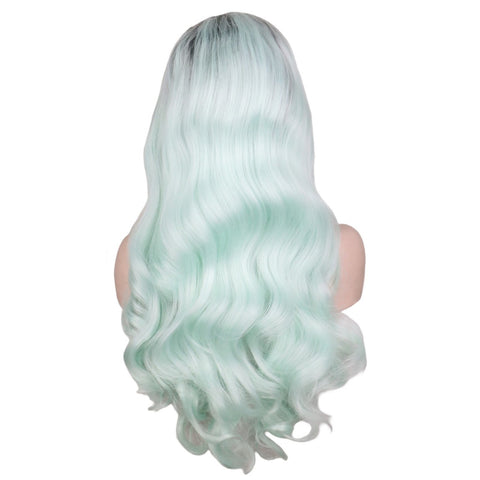 Lace Fronts - Body Wave 26 Mint Green Black Root Wigs