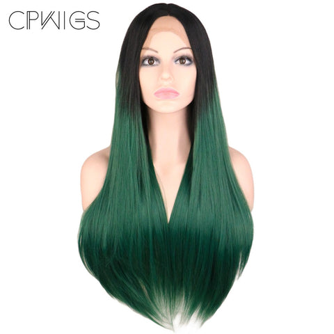 "Lace Fronts - Straight 24"" - Ombre Green, Black Root Wigs"
