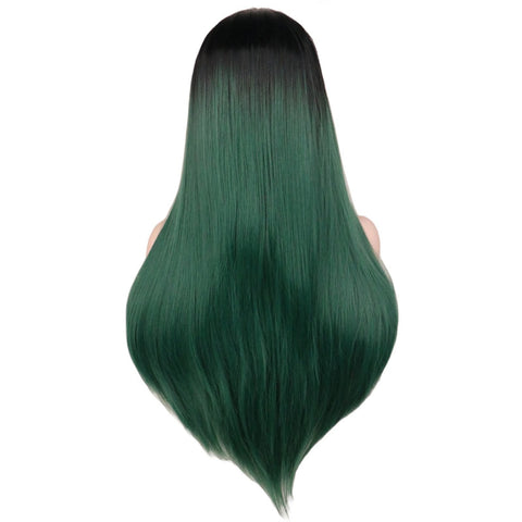 Lace Fronts - Straight 24 Ombre Green Black Root Wigs