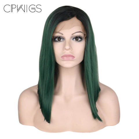 "Lace Fronts - Straight 14"" - Ombre Green, Black Root Wigs"