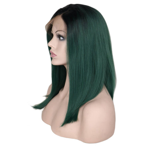 Lace Fronts - Straight 14 Ombre Green Black Root Wigs