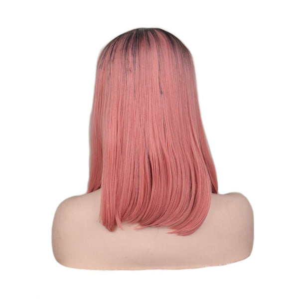Lace Fronts - Straight 16 Ombre Pink Black Root Wigs