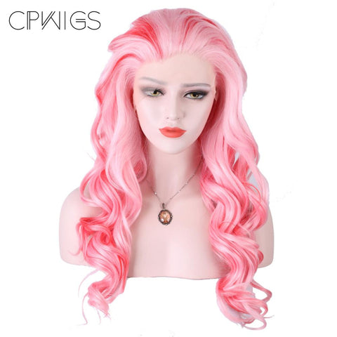 "Lace Front - Curly 26"" - White, Pink Wigs"