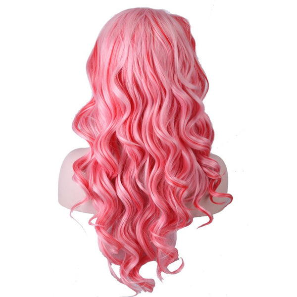 Lace Front - Curly 26 White Pink Wigs