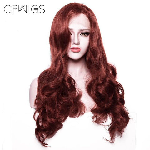 Lace Front - Copper Red Half Hand Tied Wig