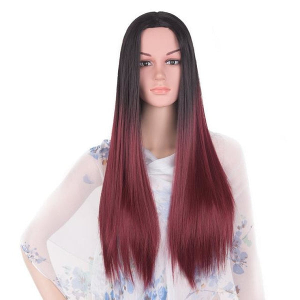 Straight 24 Inches - Synthetic Wigs T1B/burgundy / 24Inches