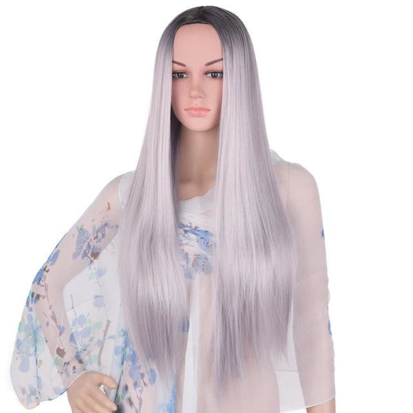 Straight 24 Inches - Synthetic Wigs Tb/dark Grey / 24Inches