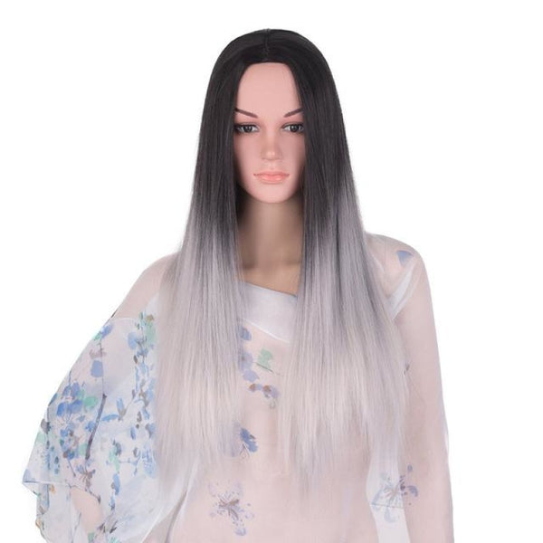 Straight 24 Inches - Synthetic Wigs T1B/light Grey / 24Inches