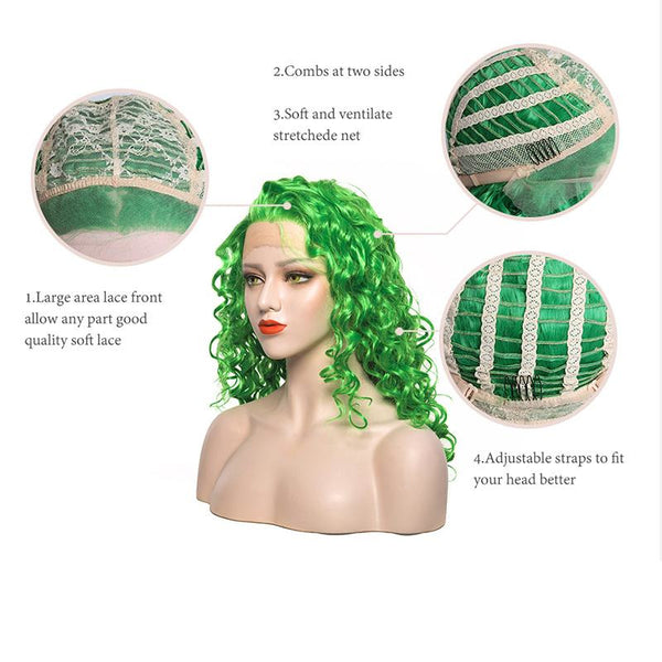 Lace Front Wigs - Long Curly Green Wig