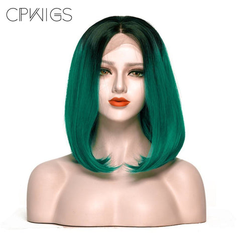 "Lace Fronts - Bob 26"" - Black Root, Dark Green Wigs"