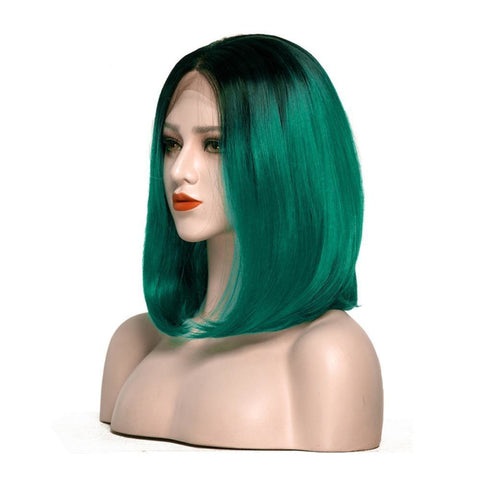 Lace Fronts - Bob 26 Black Root Dark Green Wigs