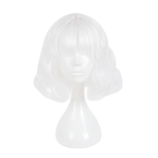 Fashion Wig - Curly 14 Air Bang Wigs (6 Colors) White