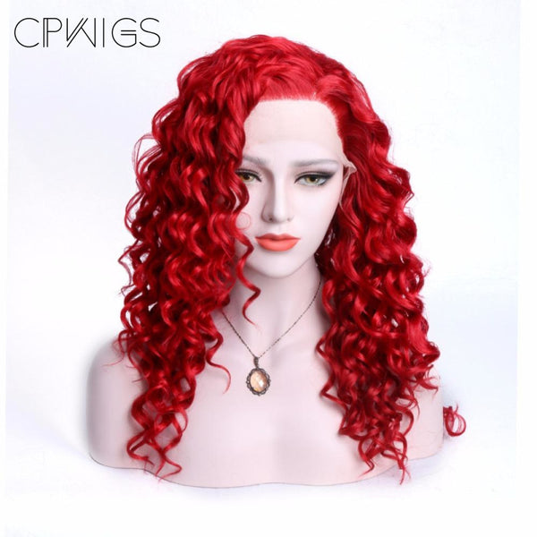 Lace Front Wig - Copper Red Curly Glueless Wigs