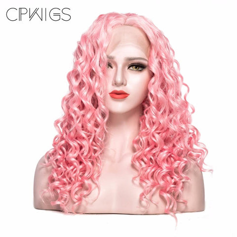 "Lace Front - Curly 22"" - Pink Wigs"