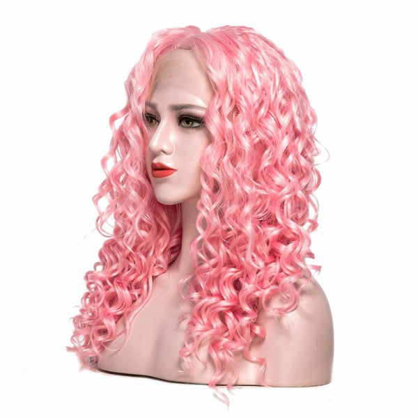 Lace Front - Curly 22 Pink Wigs