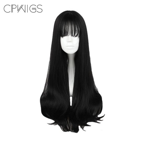 "Harajuku - Straight 30"" - Air Bang Black Wig"