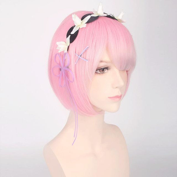 Character Cosplay - Re:zero Starting Life In Another World Ram & Rem Pink With Accessory / 12Inches