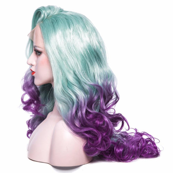 Two Tones - Curly 26 Green To Purple Lace Front Wig