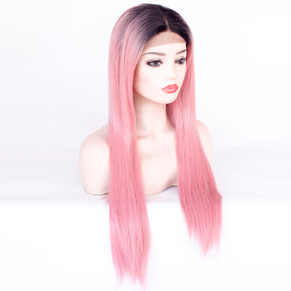 Lace Front Wigs - Long Straight - Black Roots to Peach Pink