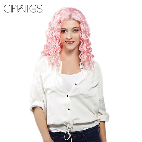 Lace Front Wig - Long Pink Curly Glueless Hair
