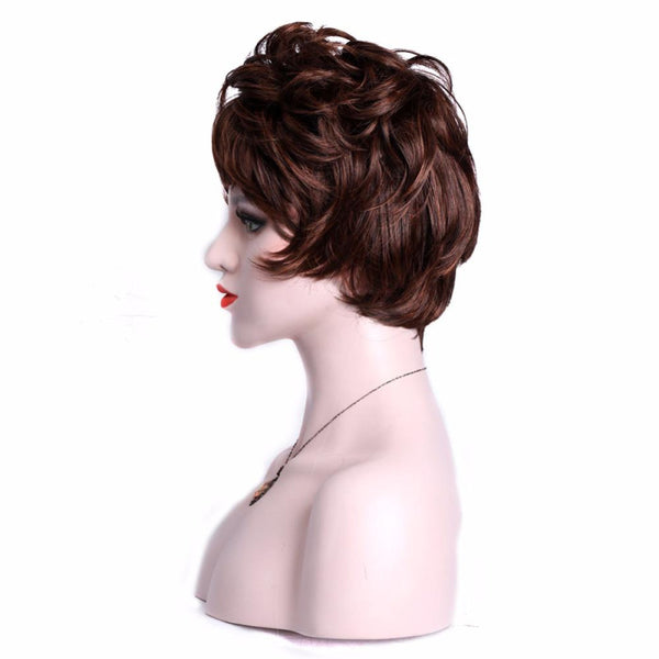 Brown Short Curly Wig With Bang