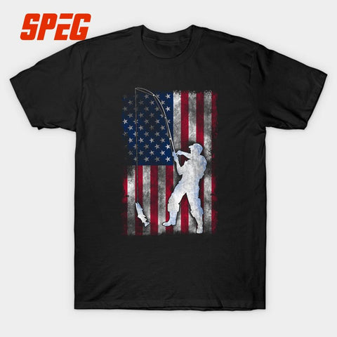 T Shirts Fishinger American Vintage Flag Men's Slim Fit Short Sleeve 100% Cotton T-Shirts Comfort Men's Tees Printing - Jigged Store