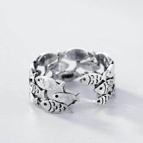 Silver Fish Ring - Jigged Store