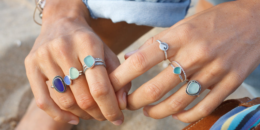 sterling silver beach jewelry with sea glass and succulents