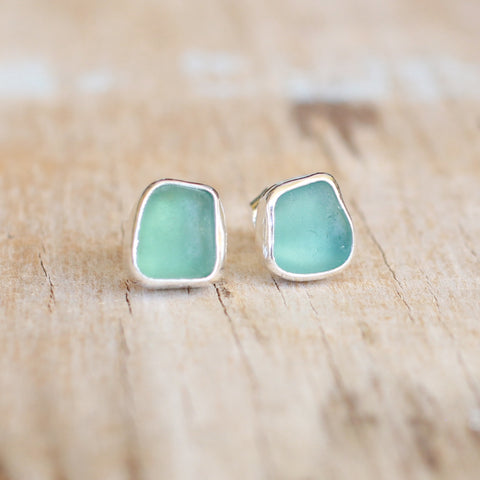 Teal Sea Glass Stud Earrings