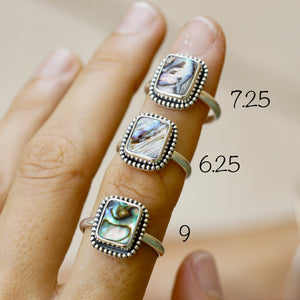 Abalone Bead Ring Rectangle