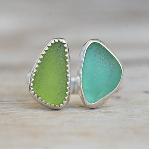 Two piece sea glass ring 6