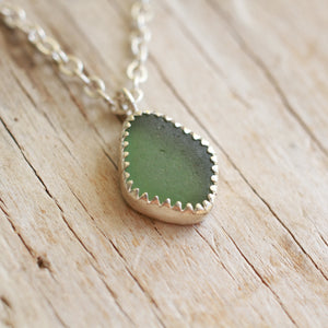 Olive Green Sea Glass Necklace 18""